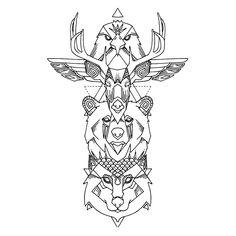 art amÉrindien: Doodle totem religieux traditionnel indien