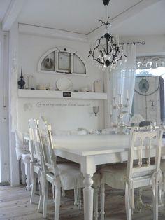 White, Grey, Black, Chippy, Shabby Chic, Whitewashed, Cottage, French Country, Rustic, Swedish decor Idea.