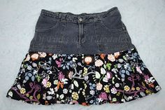 Of Pinks and Fairy Tales: From Old Jeans to Summer Skirt! jeans make the best top for a patchwork skirt.