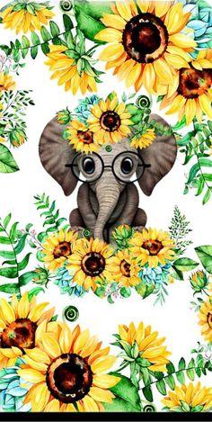 Elephant Wallpaper, Elephant Artwork, Elephant Love, Elephant Pictures, Sunflower Pictures, Sunflower Art, Cute Wallpaper Backgrounds, Pretty Wallpapers, Cute Animal Drawings