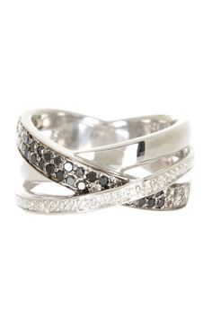 Sterling silver, Crisscross Black & White Diamond Ring - 0.25 ctw