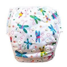 - Eco-Friendly cost effective reusable swim diapers - Easily adjustable design that will fit children 6 to 35 pounds. Snaps are smartly placed around the waist and along the front. This allows for a Butterfly Swimming, Baby Swimming, Toddler Training Pants, Baby Swim Diapers, Baby Wipe Warmer, Used Cloth Diapers, Little Swimmers, Diaper Sizes, Disposable Diapers