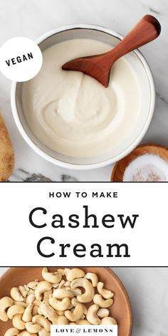 Easy vegan cashew cream is a delicious dairy-free substitute for heavy cream and sour cream! It's super creamy rich tangy and versatile - top it onto bowls tacos pizza baked potatoes and more! Sour Cream Substitute, Vegan Heavy Cream, Whole Food Recipes, Vegan Recipes, Cooking Recipes, Vitamix Recipes, Vegan Meals, Recipes Dinner, Dressings