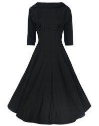 Vintage Stand-Up Collar Half Sleeve Pure Color Dress For Women (BLACK,2XL) | Sammydress.com Mobile