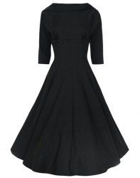 Vintage Stand-Up Collar Half Sleeve Pure Color Dress For Women (BLACK,2XL) | Sammydress.com Mobile