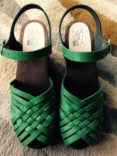 Swedish Maguba Clog Sandals 40. Green Suede.