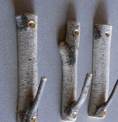 Set of 3 Birch Branch Hooks Rusic Natural Home Decor. $14.00, via Etsy.