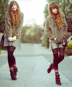 Nadia Esra - Causewaymall Sweater, Hans! Floral Skirt, Shoulderbag, H&M Overknees, Hema Socks, Zara Heels - Is it rain or is it me?