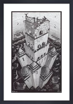 "Vintage MC Escher Art Print Bookplate Book-Cut TOWER OF BABEL 7/"" x 11/"""
