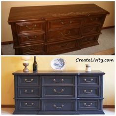 Have an old dresser? If so, you could turn it into a dining room buffet! A friend of ours got a new bedroom set and gave us his ol...