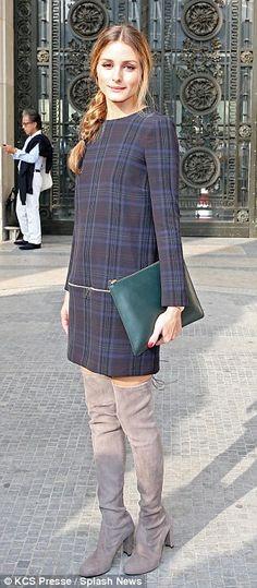 Olivia Palermo.. Zara Dress.. Stuart Weitzman Highland Stretchy Suede Over-the-Knee Boots.. Carven Spring Summer 2014 show.. Paris Fashion Week..