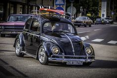 Black wolkswagen cruising at Wheels and wings Falkenberg Sweden