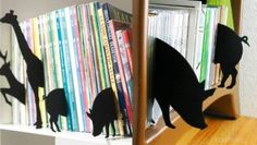Wild animal bookends...so cute for a boy's room.