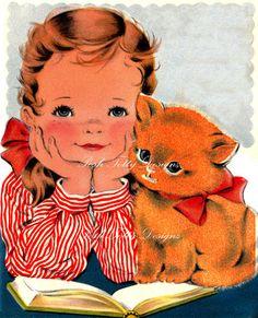 Me and Kitty Vintage Greetings Card Digital by poshtottydesignz