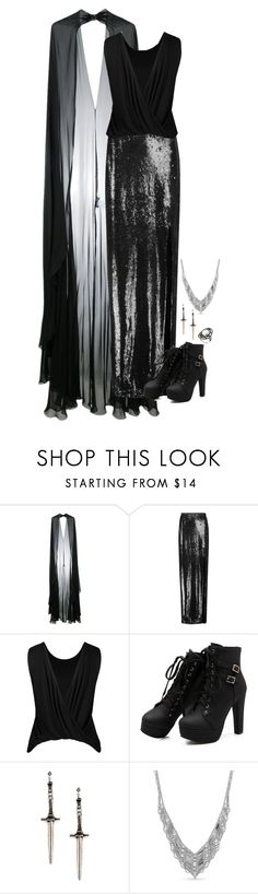 """""""Untitled #1949"""" by tapping-raven ❤ liked on Polyvore featuring Zuhair Murad, Halston Heritage, Pamela Love, Belk & Co. and Bavna"""