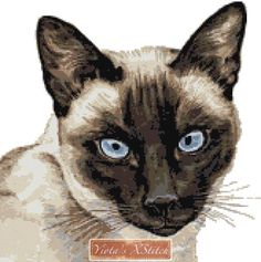 Siamese cat cross stitch kit I want this
