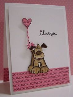 Puppy Love bugaboo stamps- by Loll Thompson - Cards and Paper Crafts at Splitcoaststampers Dog Cards, Kids Cards, Valentine Love Cards, Animal Cards, Copics, Creative Cards, Cute Cards, Scrapbook Cards, Homemade Cards