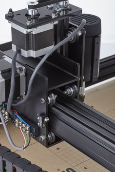 A detail shot of the X-Carve's complex extrusion for the carriage rail