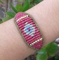 Macrame beaded bracelet/ evil eye micromacrame/ woman by lulupica Macrame Jewelry, Macrame Bracelets, Boho Chic, Boho Style, Boho Fashion, Woman Fashion, Evil Eye Bracelet, Unique Bracelets, Micro Macrame