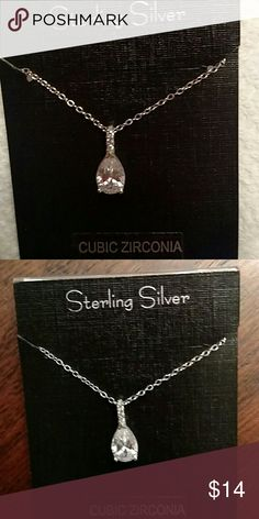 "Sterling Silver Necklace Cubic Zirconia 18"" sterling silver chain.. Jewelry Necklaces"