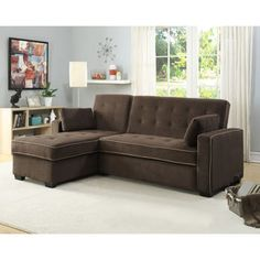 Tomas Fabric Sofa Chaise Convertible Bed - Dark Java