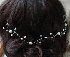 pearl & Turquoise hair vine - ivory freshwater pearls and turquoise gemstone chips bridal wedding Grecian hair garland