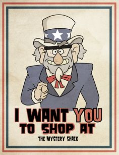 A mashup of Grunkle Stan from Gravity Falls, and the classic Uncle Sam US Army posters. Fall Birthday Parties, Best Shows Ever, Illusions, Anime, Funny, Ford Memes, Alex Hirsch, Cartoons, Stupid Things