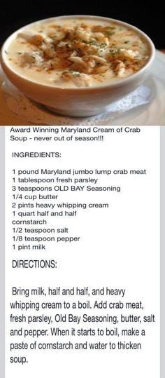 Crab soup recipe Best Of AmericanTowns delivers the most interesting and unique places in America right to your fingertips. Browse the best places to eat, live, and visit. Crab Recipes, Seafood Soup Recipes, Recipies, Chowder Recipes, Best Clam Chowder Recipe, Good Food, Yummy Food, Tasty, Delicious Recipes