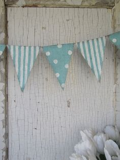 Party Baby Shower Kids Room Nursery Birthday Party by funkyshique Bunting Garland, Bunting Banner, Burlap Banners, Pennant Banners, Wedding Spot, Party Wedding, Burlap Crafts, Diy Crafts, Painting Burlap