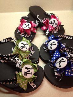 Monogrammed ribbon flip flops by LilybugsBowtique on Etsy, $18.00