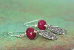 Ruby Jewelry, Ruby Earrings,  Ruby Jade Sterling Silver Earrings, Ruby Jewelry, Gift For Her, Flower Earrings, Ask Questions by hazaricreations on Etsy