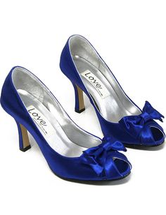 Unique Blue High Heel Satin Wedding Pump Shoes