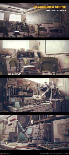 Classroom Scene by Meny Hilsenrad | 3D | CGSociety