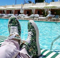 We are in LOVE with these limited edition Buscemi shoes inspired by our Martinique banana leaf wallpaper!  Photo from Instagram user @averyandon#DCmoments #BeverlyHillsHotel