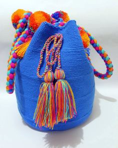 Wayuu Bag-Pom Pom Blue - Alynshop