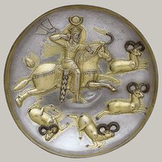 Plate with king hunting rams, late 5th–early 6th C.; Sasanian period  Iran. Silver, mercury gilding, inlaid niello (metallic alloy of sulfur and silver). The king as hunter first became a standard motif on royal Sasanian silver plates during the reign of Shapur II (309–79).