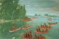 Canoe Race Near Sault Ste. Marie by George Catlin / American Art Native American Paintings, Native American Artists, Native American Indians, Native Americans, Plains Indians, Mountain Man, First Nations, Art Reproductions, Nativity