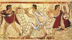 Scena di musica e danza durante il simposio etrusco; fra le figure umane sono rappresentate piante di ulivo cariche di frutti maturi. Tarquinia, Tomba dei Leopardi
