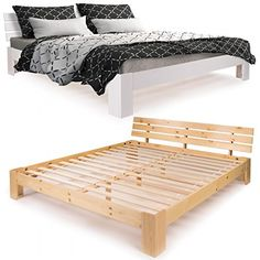 Massivholzbett aus Kiefer in modernem Design Stabiles Untergestell: zusätzlich verstärkt durch Quer- und Mittelbalken mit 3 Stabilisierungsfüßen Mit Roll-Lattenrost