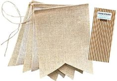 Outside the Box Papers DIY Burlap Swallowtail Banners with Jute Cord 8 x 10 - 5 Pieces and 25 Kraft Paper Straws 8 x 10 - 5 Pieces