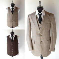 So excited about the tweed look filtering through into mainstream fashion.  Vintage Mens Suit - 3-piece for sure