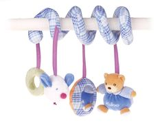 A very pretty Pram Spiral toy from Kaloo with 4 little toys attached A gorgeous attachment for any Pram or Cot Part of the Blue collection this
