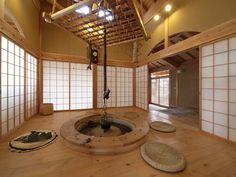 囲炉裏 irori00 もっと見る Modern Japanese Interior, Japanese Home Design, Japanese Style House, Traditional Japanese House, Asian Interior, Japanese Modern, Irori, Garden Wall Designs, Bedroom Minimalist