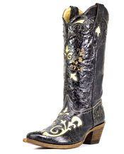 Corral - Women's Distressed Black Lizard Inlay Boot