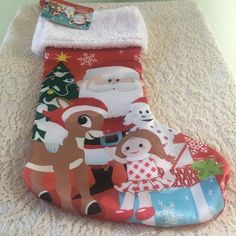 "Rudolph the Red Nosed Reindeer Christmas Stocking 18"" Kids Misfit Toys Santa"