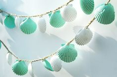 Seashell Garland Beach Wedding Decoration, Mint Green and White Sea Shell Garland, Shabby Chic Coastal Cottage Home Decor on Etsy, $25.00
