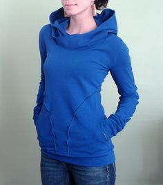 I want this!! hooded top with pockets Royal Blue by joclothing on Etsy