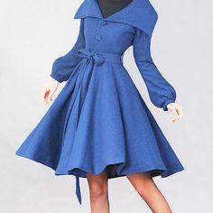 Blue woolen long coat by xiaolizi on Etsy, $109.00