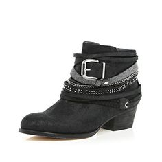 Black wrapped strap western ankle boots - ankle boots - shoes / boots - women