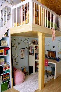 loft bed for tween girls room with study area below